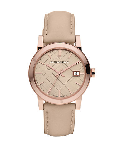 Burberry The City Analog Leather Watch-ROSEGOLD-One Size