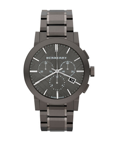 Burberry The City Tonal Chronograph Watch-BLACK-One Size