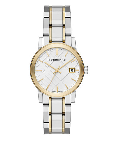 Burberry 18K Goldplated City Analog Watch-TWO TONE-One Size