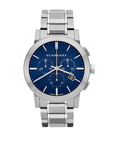 Burberry The City Silvertone Chronograph Watch-SILVER-One Size