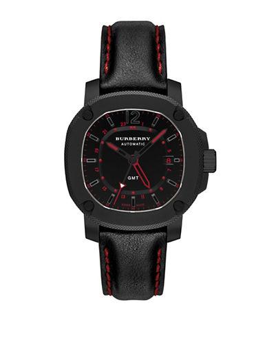 Burberry Britain Black Titanium Leather Strap Watch-BLACK-One Size