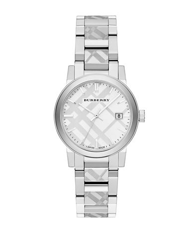 Burberry The City Silvertone Check Watch-SILVER-One Size