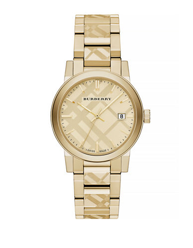 Burberry The City Goldtone Check Watch-GOLD-One Size