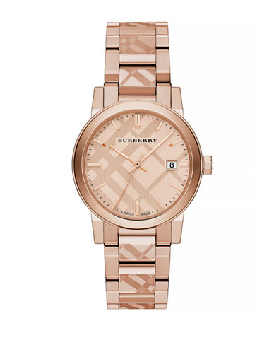 Burberry The City Rose Goldtone Check Watch-ROSEGOLD-One Size