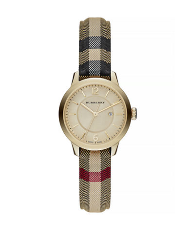 Burberry Classic Round Analog Check Watch-MULTI-One Size