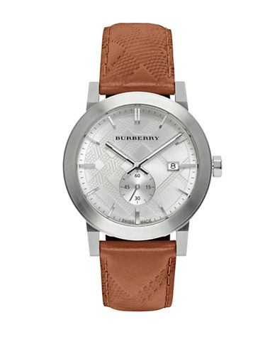 Burberry The City Leather Strap Watch-BROWN-One Size