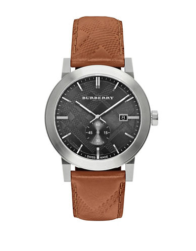 Burberry The City Stainless Steel Leather Watch-BROWN-One Size