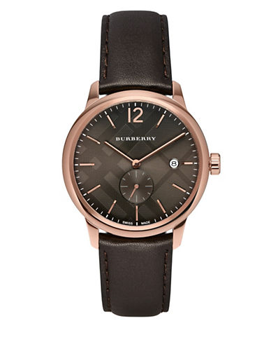 Burberry The Classic Round Rose-Goldtone Stainless Steel Leather Strap Watch-BROWN-One Size