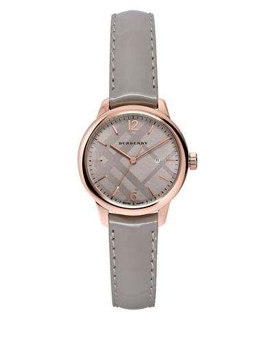 Burberry The Classic Round Rose-Goldtone Leather Strap Watch-GREY-One Size
