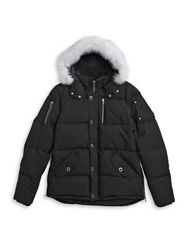 Moose Knuckles Quilted Bomber Parka with Fox Fur-BLACK-Medium 88584127_BLACK_Medium