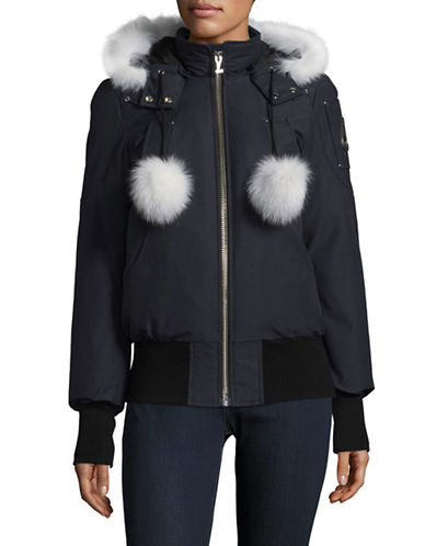 Moose Knuckles Debbie Down Bomber Coat with Fox Fur Trim-NAVY-X-Large