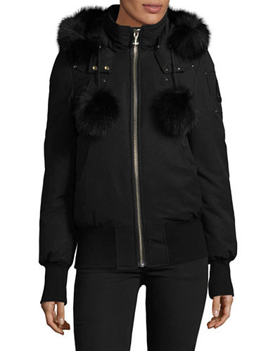 Moose Knuckles Debbie Down Bomber Coat with Fox Fur Trim-BLACK-Small