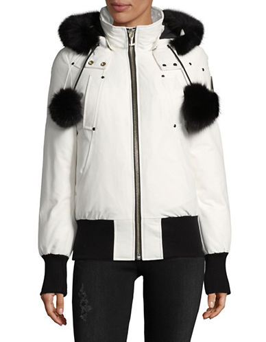 Moose Knuckles Debbie Down Bomber Coat with Fox Fur Trim-WHITE-Small