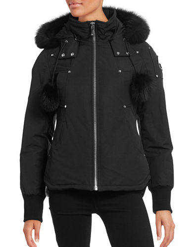 Moose Knuckles Fox Fur Trimmed Down Parka-BLACK-Large