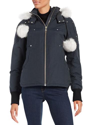 Moose Knuckles Fox Fur Trimmed Down Parka-BLUE-Medium