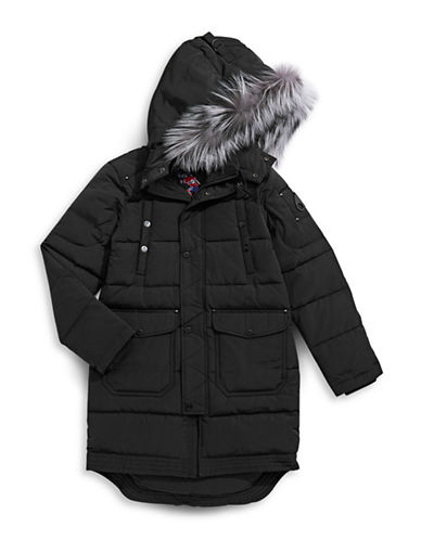 Moose Knuckles Unisex Parka with Fox Fur Trim-BLACK-Small