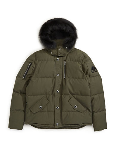 Moose Knuckles Quilted Bomber Parka with Fox Fur-OLIVE-X-Large
