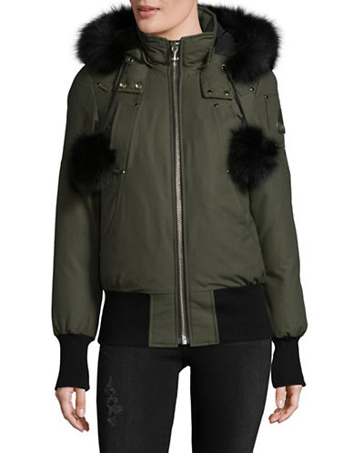 Moose Knuckles Debbie Down Bomber Coat with Fox Fur Trim-GREEN-Medium