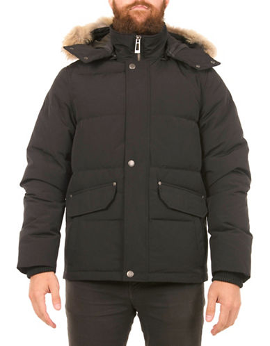 Company Of Adventurers Mid-Length Quilted Fur Trim Coat-BLACK-XX-Large 88537753_BLACK_XX-Large