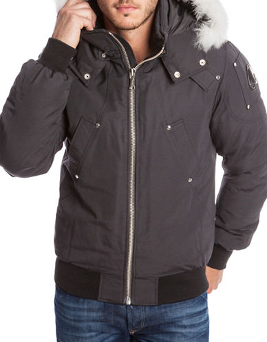 Moose Knuckles Ballistic Bomber Down Coat with Fox Fur Trim-GREY-Large