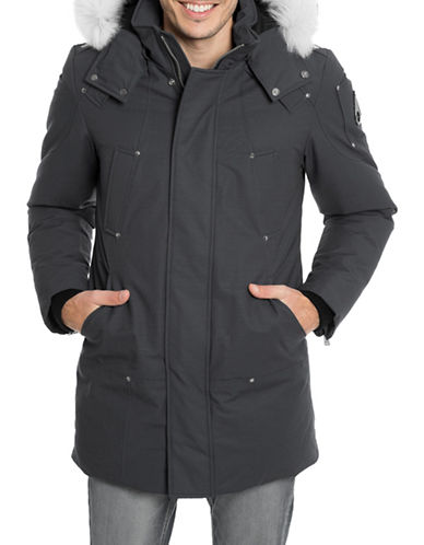 Moose Knuckles Stirling Parka with Fox Fur-GREY-Small