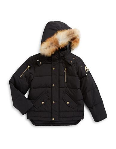Moose Knuckles Unisex 3A Jacket with Fox Fur Hood-BLACK-Small
