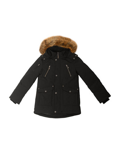 Company Of Adventurers Boys Down-Filled Faux Fur Trimmed Parka-BLACK-Small