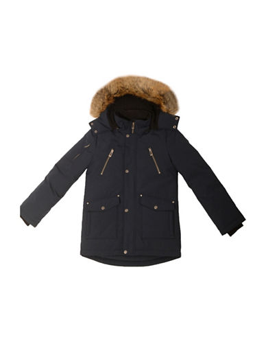 Company Of Adventurers Boys Down-Filled Faux Fur Trimmed Parka-BLUE-Large