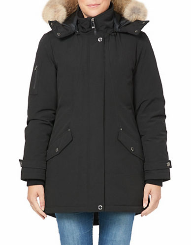 Company Of Adventurers Hi-Lo Fur Hood Down Parka-BLACK-Medium