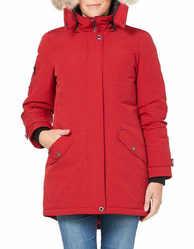 Company Of Adventurers Hi-Lo Fur Hood Down Parka-RED-Small
