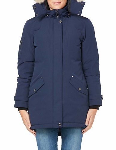 Company Of Adventurers Hi-Lo Fur Hood Down Parka-NAVY-X-Small