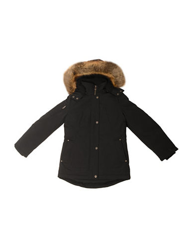 Company Of Adventurers GIrls Down-Filled Faux Fur-Trimmed Parka-BLACK-Medium