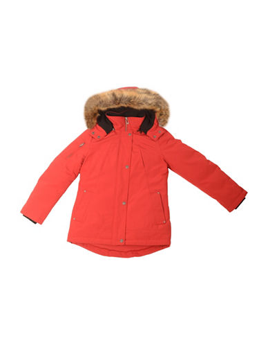 Company Of Adventurers GIrls Down-Filled Faux Fur-Trimmed Parka-RED-Large