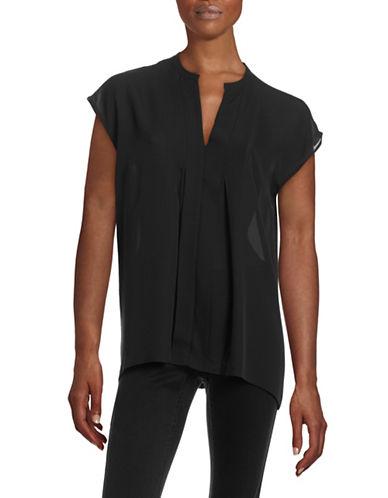 Vince Sheer Pleated Silk Popover Top-BLACK-Medium 88179257_BLACK_Medium