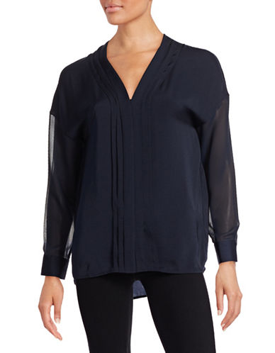 Vince Embroidered Mix Media Silk Blouse-NAVY-4