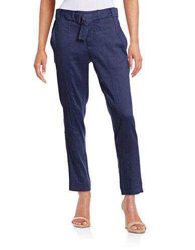 Vince Linen-Blend Belted Trousers-BLUE-4