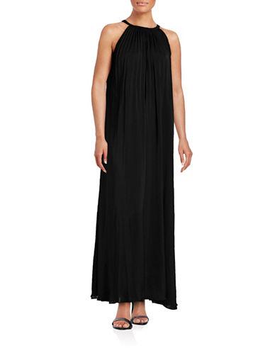 Vince Pleated Halter Maxi Dress-BLACK-2