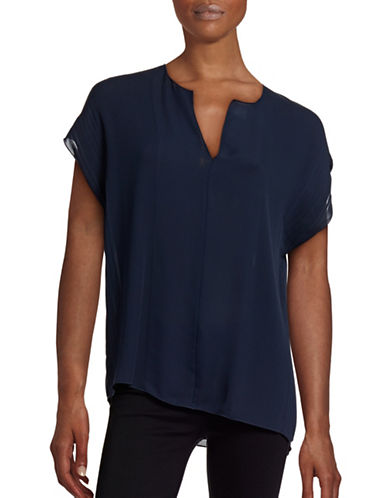 Vince Pleated Split Neck Silk Blouse-COASTAL-X-Small