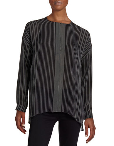 Vince Striped Silk Blouse-BLACK/CHARCOAL-4 plus size,  plus size fashion plus size appare
