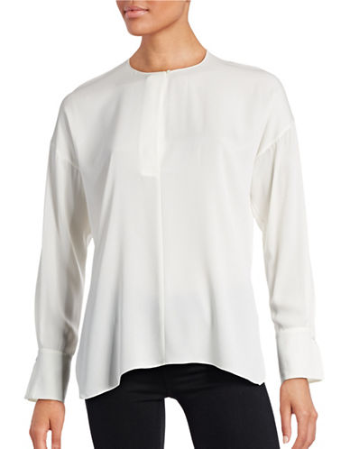 Vince Covered Placket Silk-Blend Blouse-OFF WHITE-4