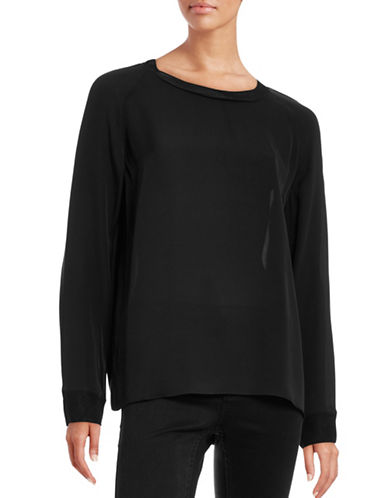 Vince Rib-Trim Silk Blouse-BLACK-X-Small 88641543_BLACK_X-Small