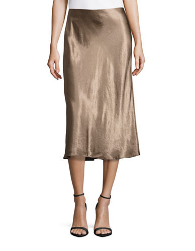 Vince Glossy Bodycon Flare-Hem Skirt-BROWN-Large