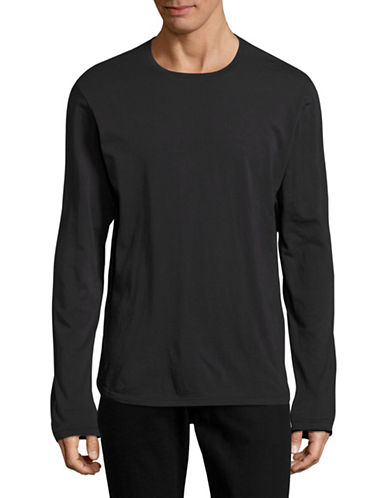Velvet By Graham And Spencer Double Layered Crew T-Shirt-BLACK-Small