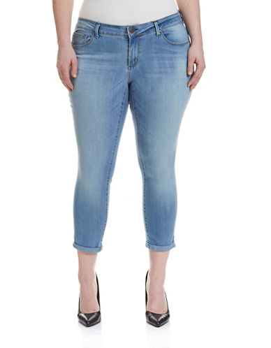 Jessica Simpson Plus Cropped Midwash Skinny Jeans-BLUE-18W