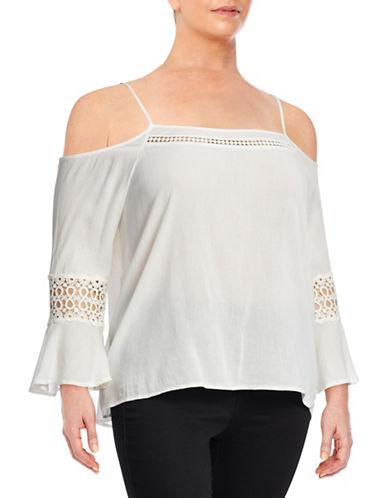 Jessica Simpson Plus Cold-Shoulder Peasant Blouse-WHITE-3X