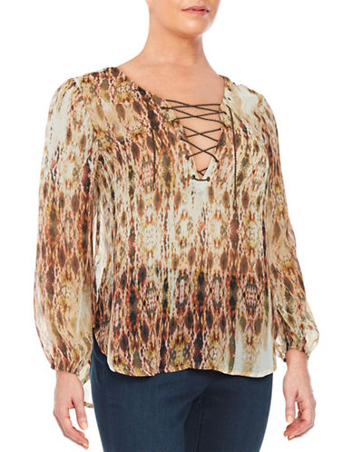 Jessica Simpson Plus Sheer Lace-Up Top-MULTI-1X