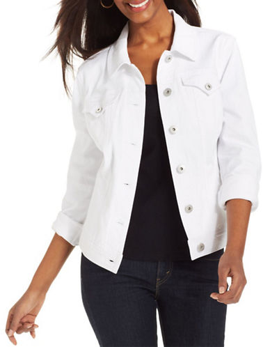 Style And Co. Denim Jacket-WHITE-X-Large 88156515_WHITE_X-Large