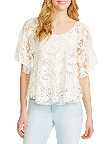 Jessica Simpson Gwen Embroidered Mesh Top-WHITE-X-Small 88477629_WHITE_X-Small