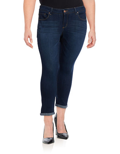 Jessica Simpson Plus Forever Rolled Skinny Jeans-BLUE-14W