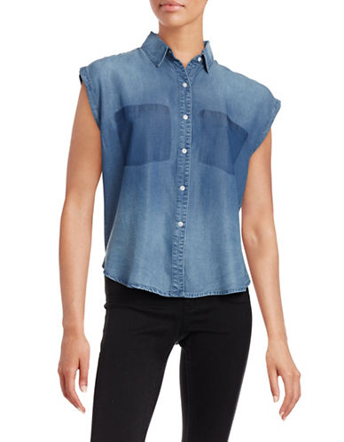 William Rast Akiko Chambray Button Tank-BLUE-Small 88337652_BLUE_Small